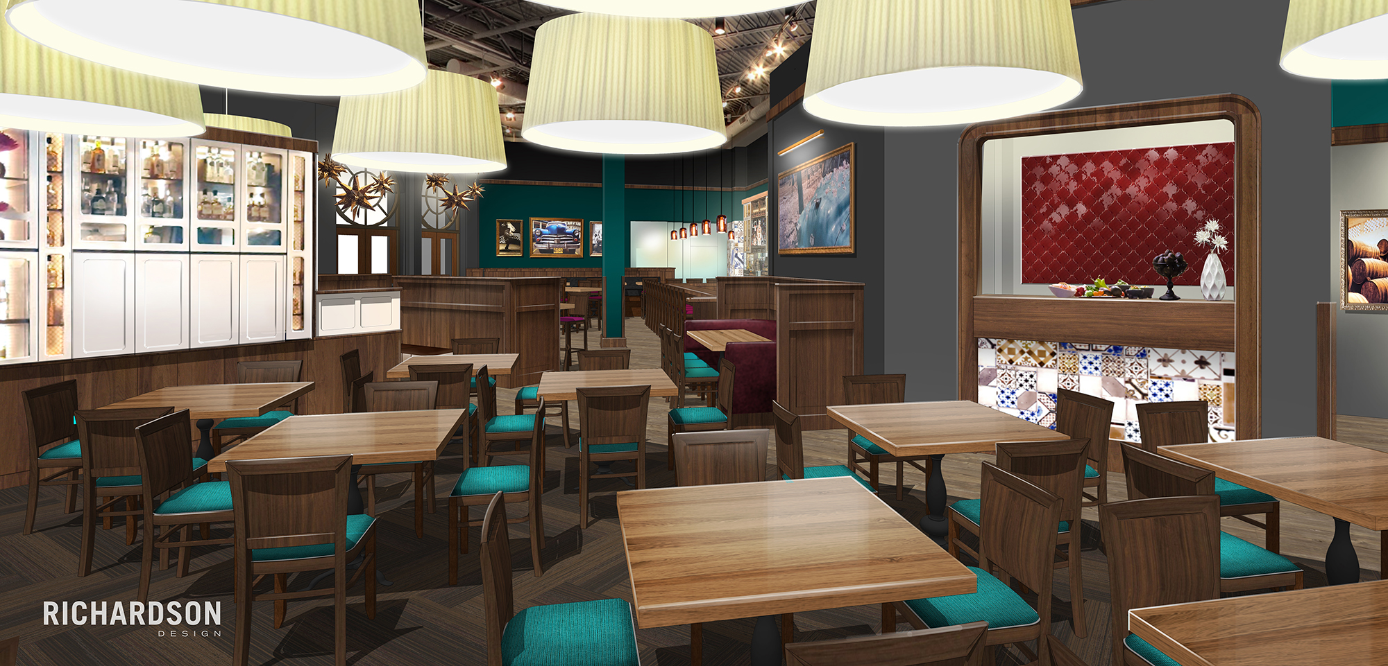 Here You See What Our Main Dining Room Will Look Like The E With Maroon Tile On Right Hand Side Be New Guacamole Bar